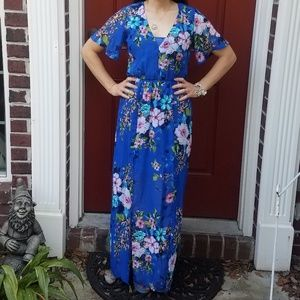Blue Floral Open Back Maxi Dress with Front Slits